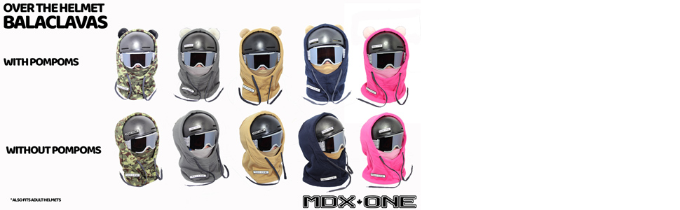 over the helmet balaclavas with pompons helmet face mask cover