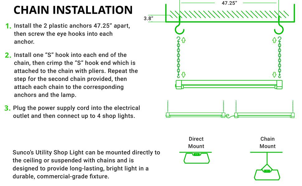 ih utility 300 6 volt wiring diagram sunco lighting 2 pack led utility shop light  4 ft  linkable  sunco lighting 2 pack led utility shop