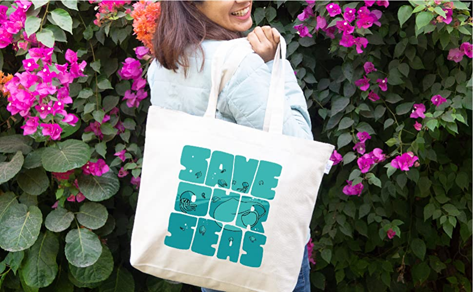 Large Canvas Zipper Tote Bags