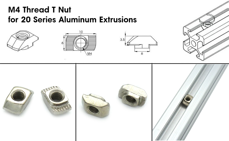 T nuts and Accessories for 2020//2040 Aluminium Extrusion//B style Profile Slot 6