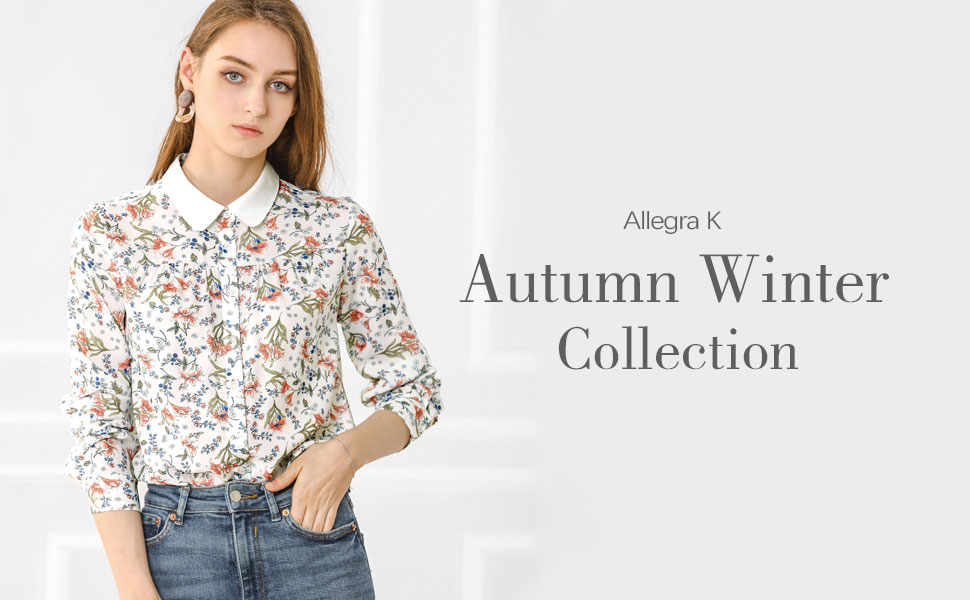 Allegra K Blusa De Trabajo Estampado Floral con Botones Camisa Cuello En Contraste Tapeta Completa Manga Larga para Mujer