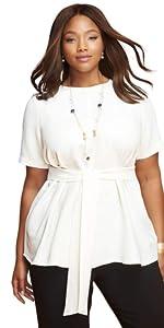 Plus Size Tie Front Blouse