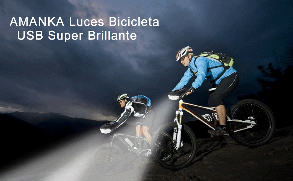 AMANKA Luces Bicicleta USB Super Brillante Impermeable LED ...