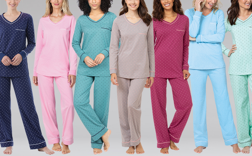 line up of female models standing up wearing our popular premium women's pajamas