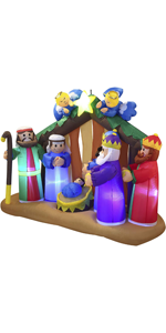 6 FT Long Christmas Inflatable Nativity Scene