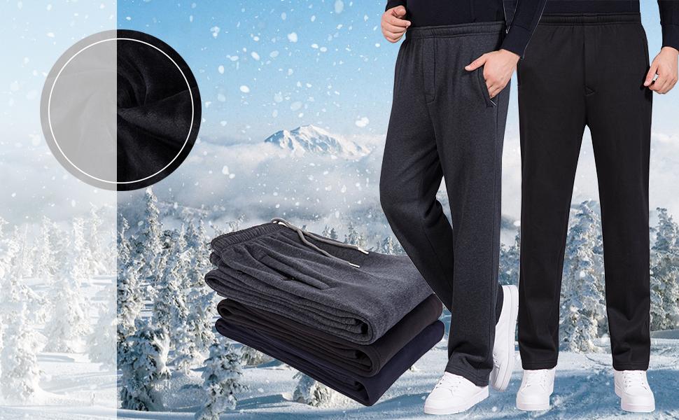 Mens Fleece Elastic Bottom Sweatpants Zip Fly Closure