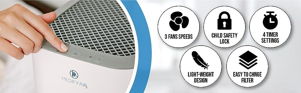 air purifier features, ma-15 air purifier, medify ma 15