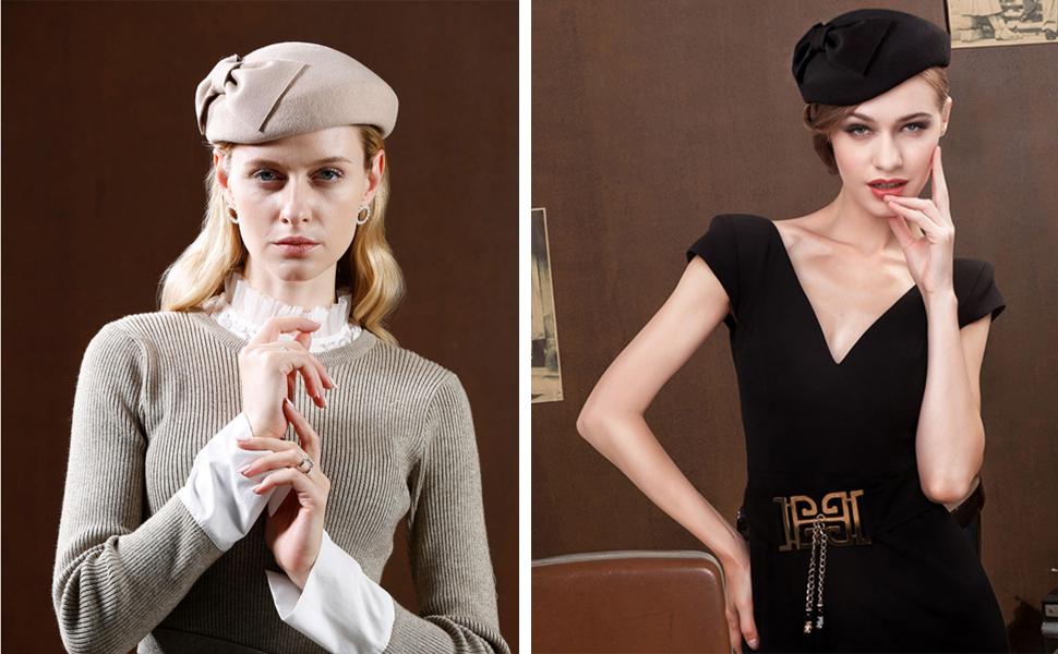 Womens-French-Berets-Bowler-Bowknot