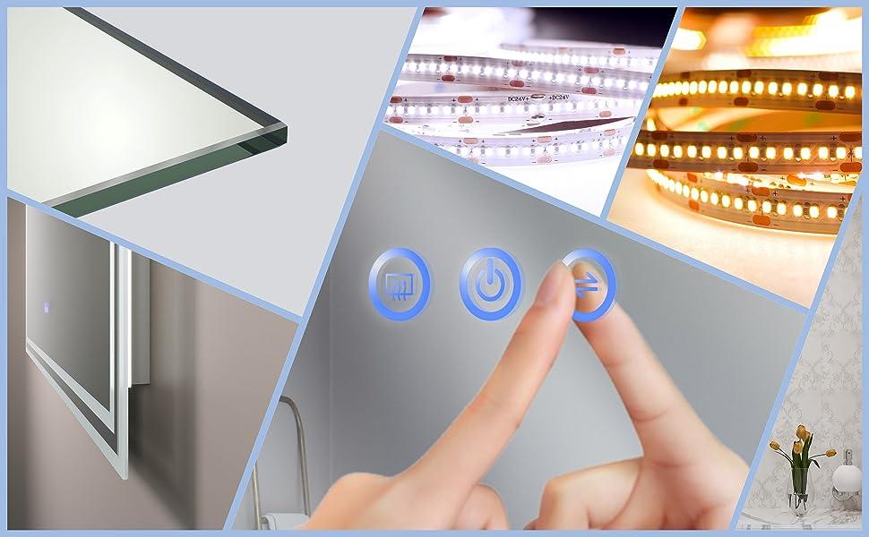 LED Spiegel mit Beleuchtung für Badezimmer 100x70cm ESSENS Typ C