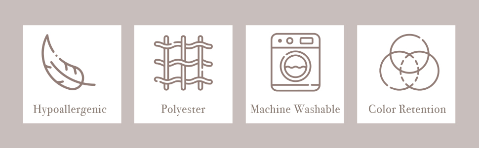 Cute icons describing Donna Sharp features. Hypoallergenic polyester quilts are machine washable.