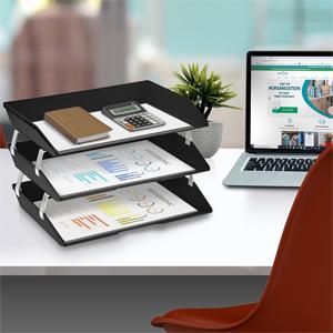 acrimet facility letter tray 3 tier side load black color