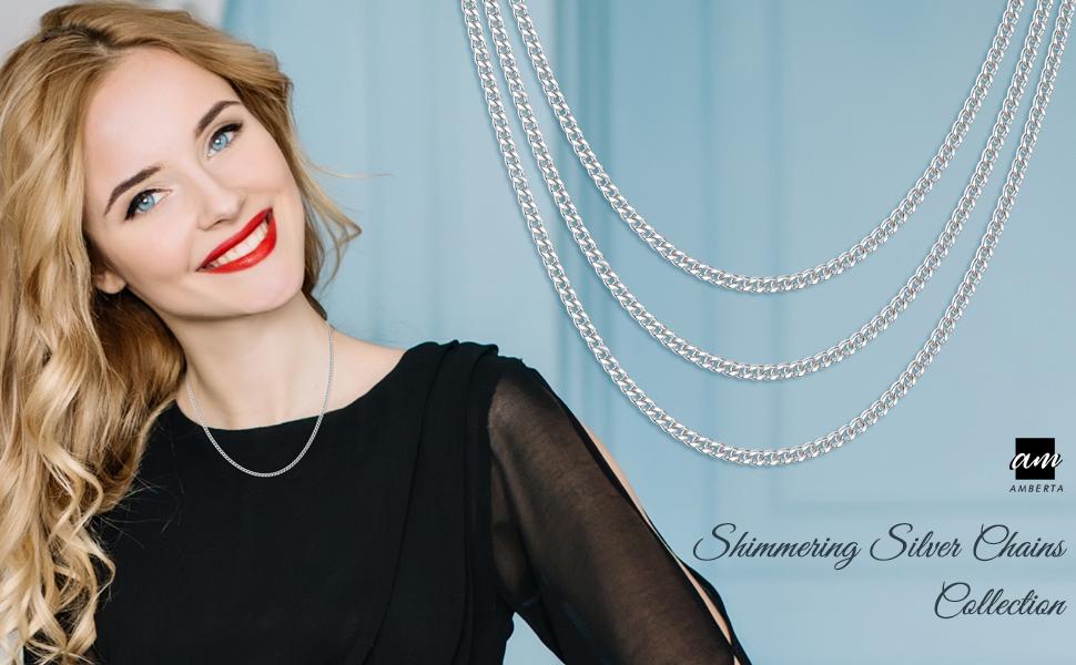 Amberta Joyería - Collar - Fina Plata De Ley 925 - Diamante Corte - Cadena de Frenar (Rombo)