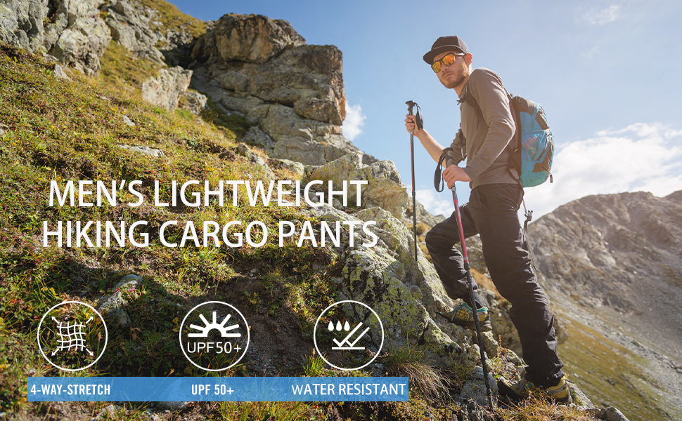 BALEAF Mens Hiking Cargo Pants Water Resistant UPF 50 Quick Dry Lightweight Outdoor Pant Fishing Camping