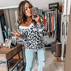 Fasumava Jersey De Mujer De Gran Tama/ño Sudadera con Estampado De Leopardo Media Cremallera Borroso Tops