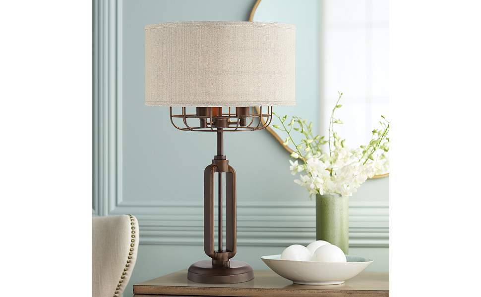 Tremont Bronze Iron Cage 3-Light Table Lamp