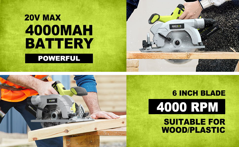 cacoop 20v max 6 inch electric wireless cordless circular saw battery powered charger wood cutter
