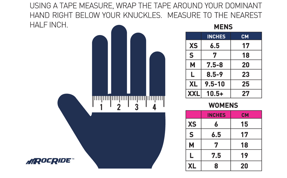 rocride gloves sizing chart