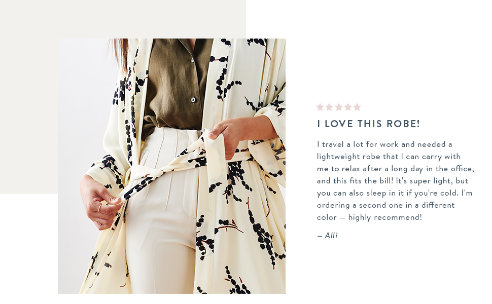 KIM+ONO Women's Crepe Kimono Robes testimonial review travel day in the office lightweight