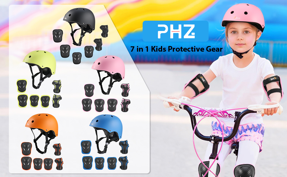 Lamsion Kids Helmet Adjustable for Kids Ages 3-8 Years Boys Girls Toddler Bike Helmet with Protective Sports Gear Set Knee Elbow Pads Wrist Guards for Cycling Roller Skating Skateboard Scooter