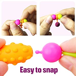 FunzBo Snap Pop Beads for Kids - Girls DIY Jewelry Making Kit for Toddlers, Pop Beads for Making