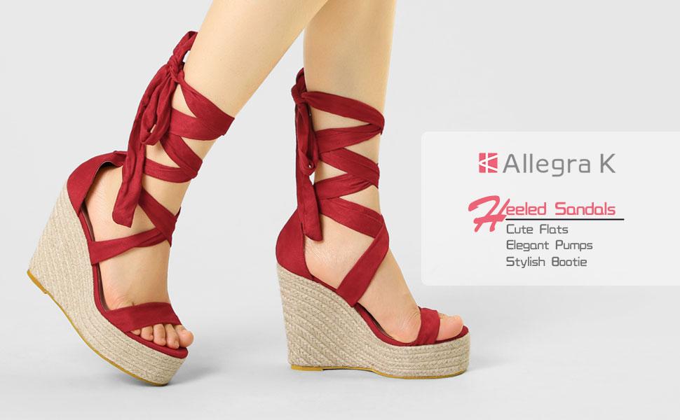 Allegra K Women's Canvas Platform Sling Sandals