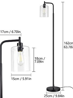 Lampadaire LED minimaliste moderne, lampadaire noir en verre et métal