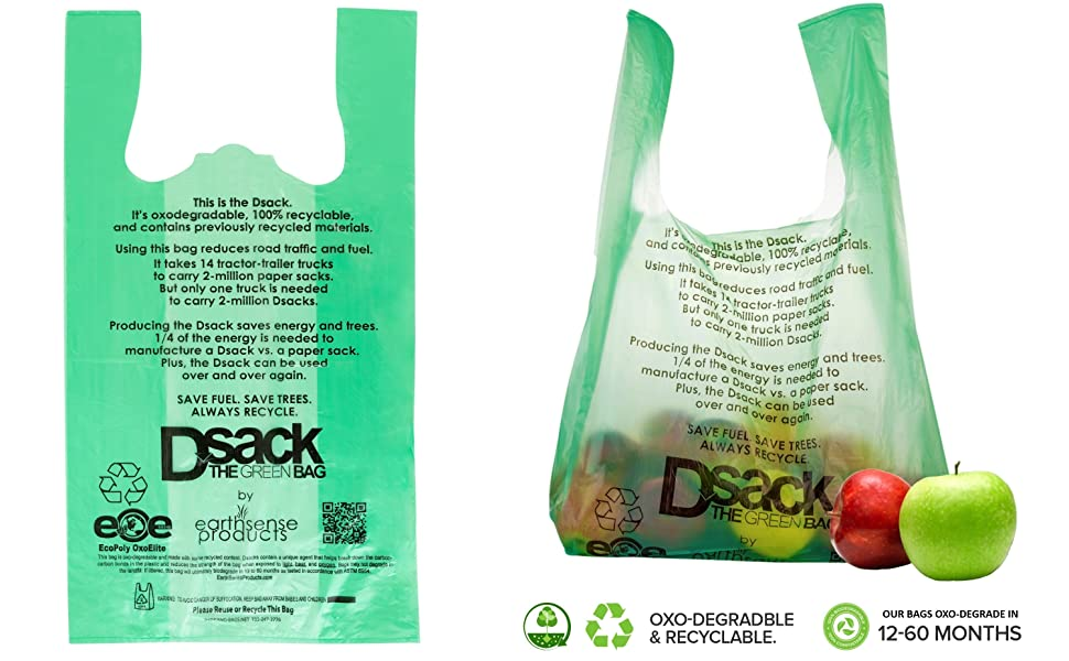 Stock Your Home Degradable Bags 100 Count Degradable Plastic Grocery Bags Bulk - Reusable Bags