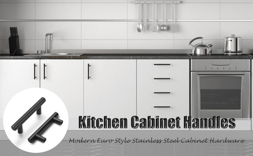 Probrico 5 Pack 2 1 2 Inch Center To Center Black Bar Cabinet Pull Modern Cabinet Hardware Kitchen Cabinet T Bar Handle Dresser Knobs Set Amazon Com