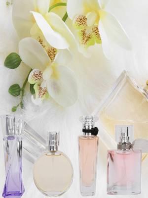 Four large bottles of perfume