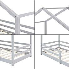Lit Cabane pour Enfants avec Protection Anti-Chute Knätten 80 x 160 cm gris clair pin forme maison