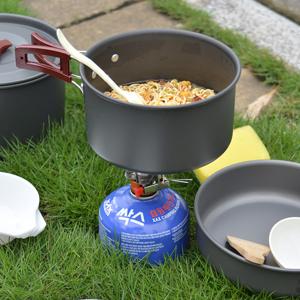 Odoland Utensilios Cocina Camping Kit 14-en-1, Portable Cooking Set con Ollas y Sartenes para Acampar, Platos, Tazones - Juego de Vajilla para ...