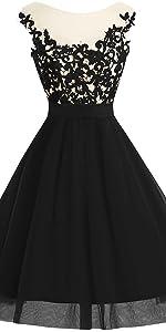 v-neck black lace prom dress