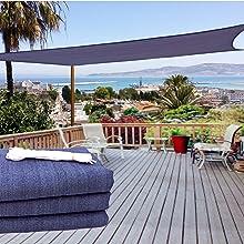 Rabbuz Ideas Toldo Vela Sombra Rectangular 3 x 4 m, protección Rayos UV, Transpirable HDPE para Exteriores, Jardín,Patio o Terraza, Color Gris