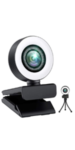 2K Computer Webcam with Ring Light