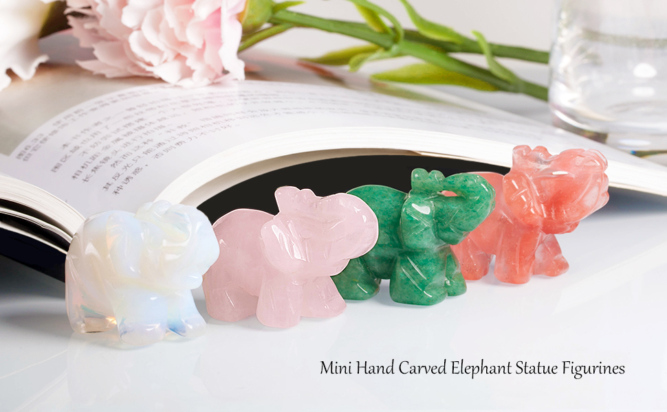 SUNYIK 1.5'' Crystal Quartz Elephant Decor