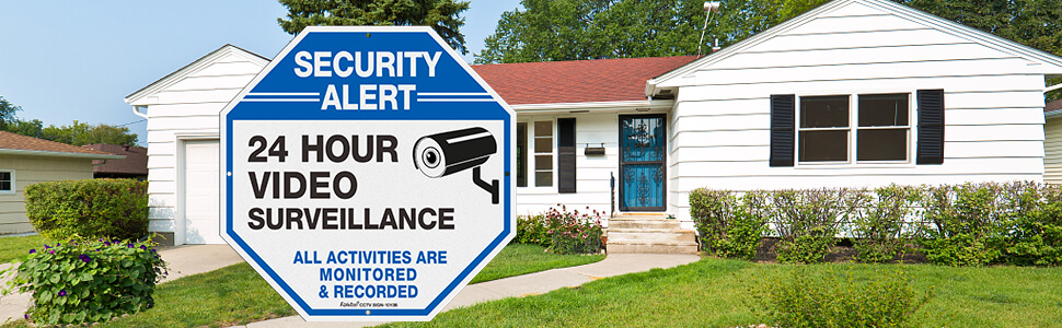Faittoo 24 Hour Video Surveillance, All Activities Monitored Signs,home security signs,