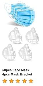 50pcs Face Mask with 4pcs Mask Bracket