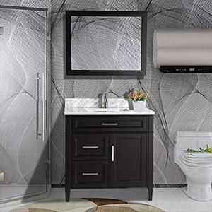 modern storage bathroom vanity set rectangle sink cabinet carrara marble stone top undermount