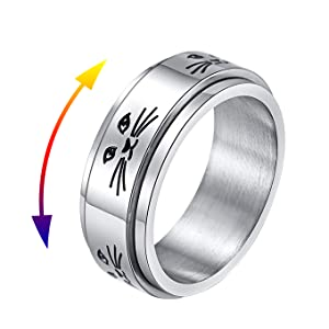 silver cat lady spinner ring