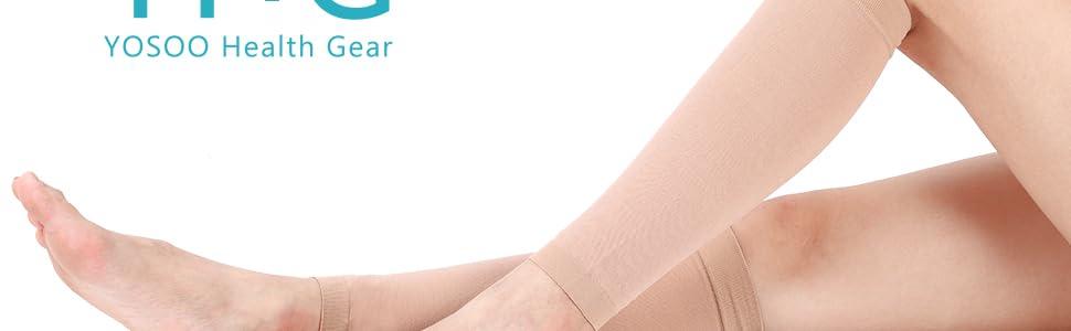 Calze a Compressione sulle Maniche Calze a Compressione sulle Gambe Shin Splint Vitello Sollievo dal Dolore Nero