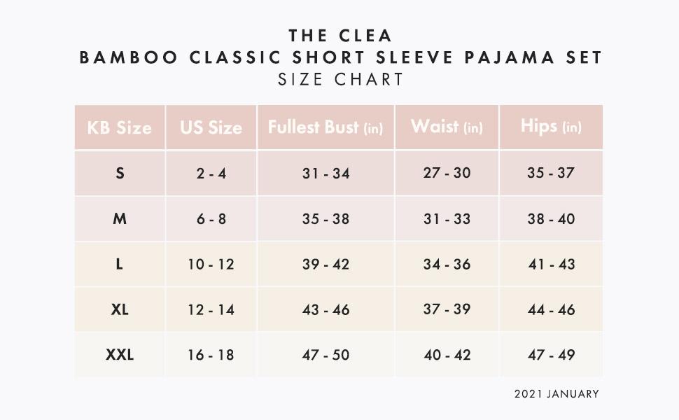 size chart Clea short sleeve bamboo pajamas