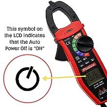 Auto power off indicator Clamp meter