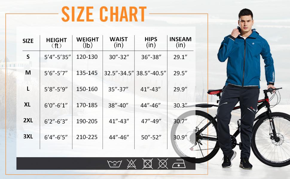 BALEAF Mens Thermal Fleece Running Cycling Pants Winter Mountain Bike Pants Windproof Biking Bicycle Zipper Pockets