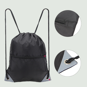 Teamoy Drawstring Backpack Sport Sackpack Bag for Men Women and Kids Gym Sack Pack with Front Flap