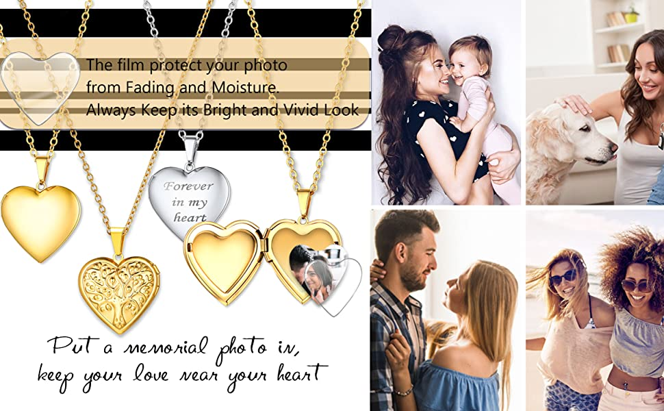 to family friends lover Custom Photo Necklace Heart Shape Locket Jewelry with Image
