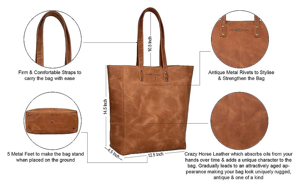 Medium Stitched Tote Shoulder Handbag by Handbags For All