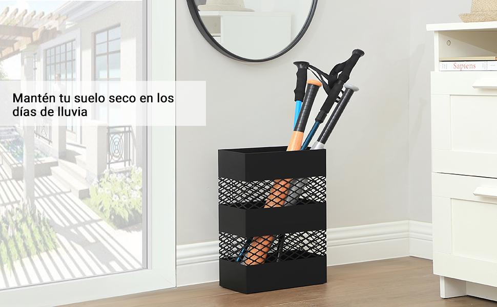 Relaxdays 48x40x15cm Acero Blanco Parag/üero XL Rectangular Soporte Paraguas Moderno