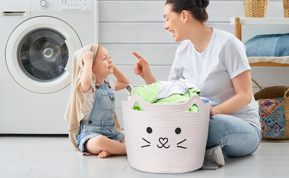 AXHOP Foldable Cotton Rope Laundry Basket Clothes Dog Room D/écor Toy Basket Storage Baskets for Kids Cute Animal Laundry Hamper Pet Gift Basket for Cat