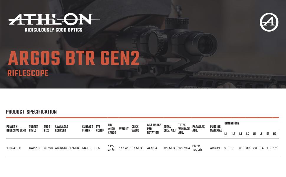 Athlon Optics Argos BTR GEN2 Riflescope Spcification