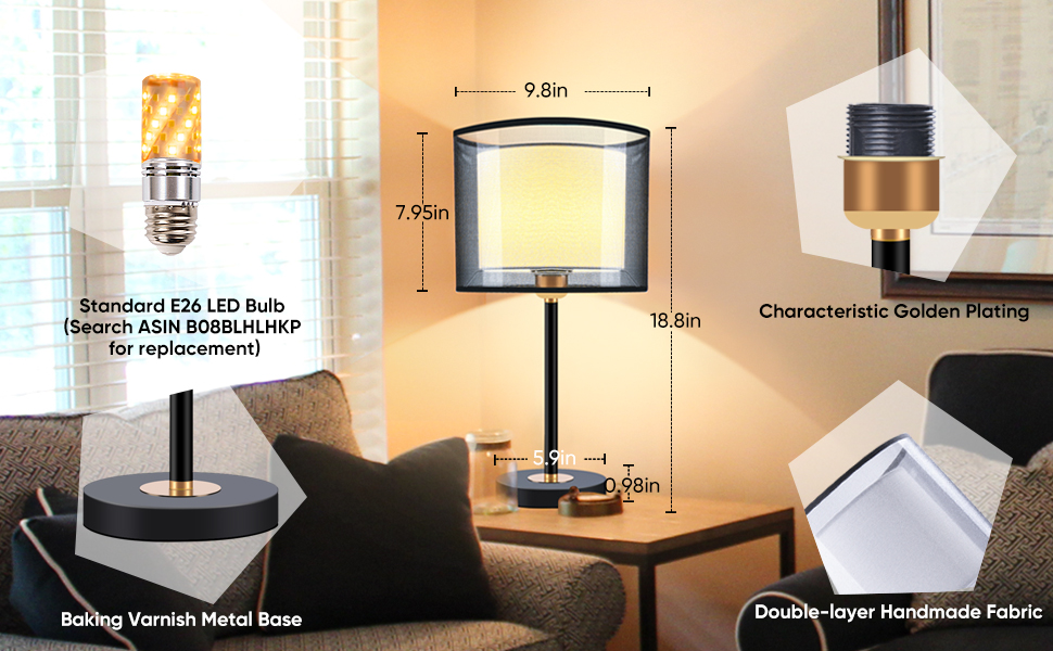 Shine Decor Double Shade LED Bedside Desk Lamps Home Decoration